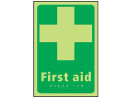 First aid photoluminescent sign.