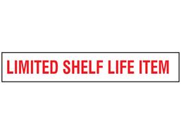 Limited shelf life time stock rack label.