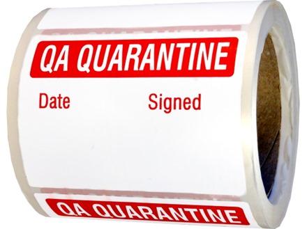 Jumbo QA Quarantine Label - 250 pack