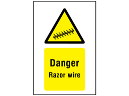 Danger razor wire symbol and text sign.