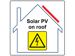 Solar PV on roof hazard label