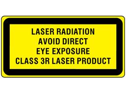 Laser radiation avoid direct eye exposure, class 3R laser equipment warning safety label.