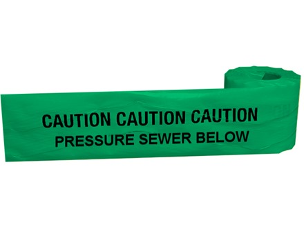 Caution pressure sewer below tape.