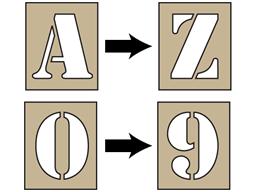 Alphanumeric stencil set, 75mm characters.