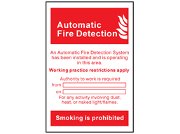 Automatic fire detection system symbol and text sign