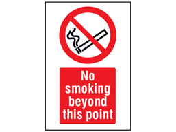 No smoking beyond this point symbol and text safety sign.