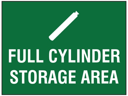 Full cylinder storage area symbol and text sign.
