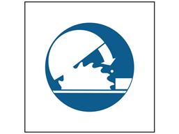 Adjustable guard symbol safety sign.