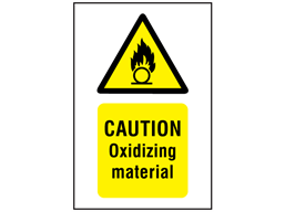 Caution oxidizing material symbol and text safety sign.
