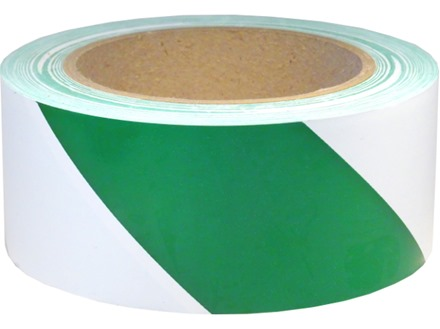 Safety and floor marking tape, green and white chevron.