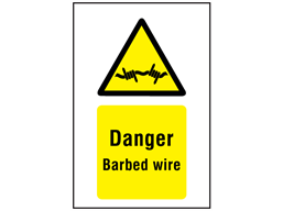 Danger barbed wire symbol and text sign.