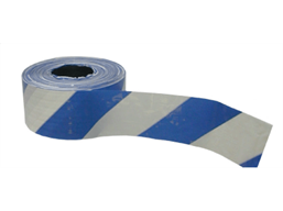 Heavy duty barrier tape, blue and white chevron.