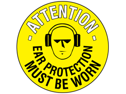 Attention ear protection must be worn floor marker