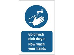 Golchwch eich dwylo, Now wash your hands. Welsh English sign.