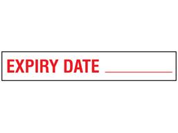 Expiry date stock rack label.