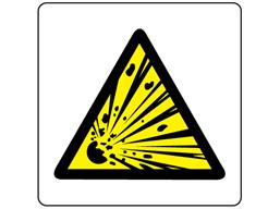 Caution risk of explosion symbol label.