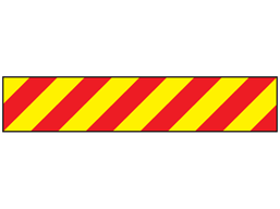Heavy duty barrier tape, red and yellow chevron.