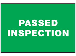 Passed inspection sign.