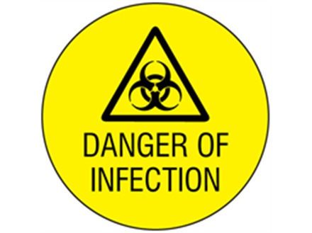 Danger of infection symbol and text safety label.