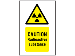 Caution radioactive substances symbol and text safety sign.
