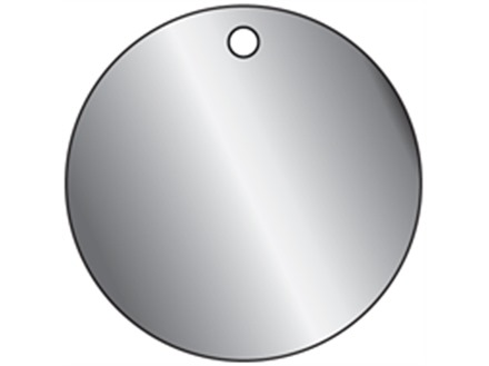 Blank stainless steel circular metal tags.