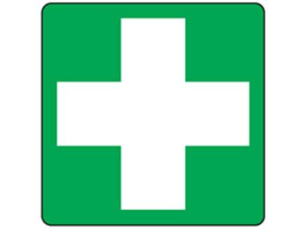 First aid symbol label.