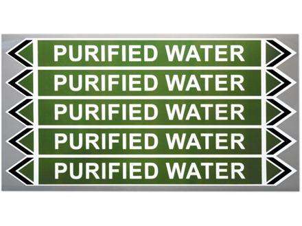 Purified water flow marker label.