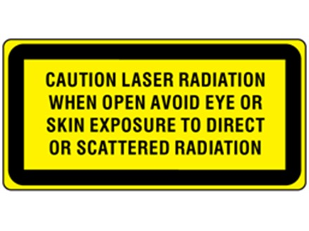Caution laser radiation when open avoid eye or skin exposure to direct or scattered radiation, laser equipment warning label.