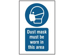 Dust mask must be worn in this area symbol and text safety sign.