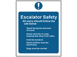 Escalator safety sign
