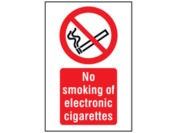 No smoking of electronic cigarettes symbol and text safety sign.