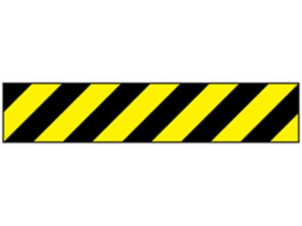 Heavy duty barrier tape, black and yellow chevron
