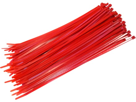 Plain nylon cable ties, red