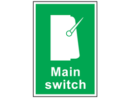 Main switch symbol and text safety sign.