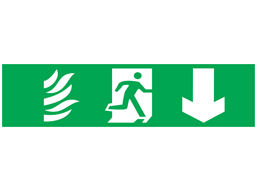 Fire exit, running man plus arrow down, mini safety sign.