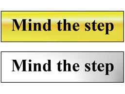 Mind the step metal doorplate