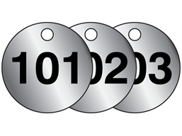 Aluminium valve tags, numbered 101-125
