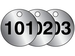 Aluminium valve tags, numbered 101-125