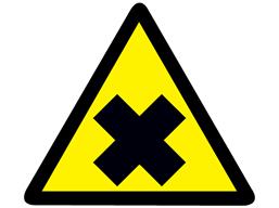 Harmful hazard warning symbol label.