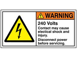 240 Volts label