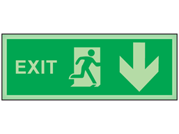 Exit, arrow down photoluminescent safety sign