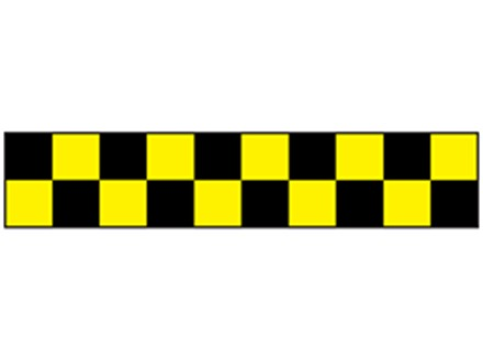 Laminated warning tape, black and yellow check.