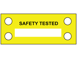 Safety tested cable tie tag.