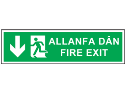 Allanfa dân, Fire exit (arrow down). Welsh English sign.