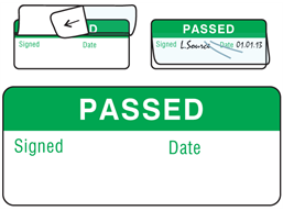Passed write and seal labels.