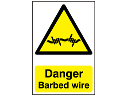 Danger, Barbed wire safety sign.
