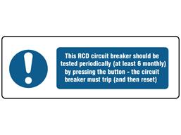 RCD circuit breaker BS 7671 label