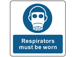 Respirators must be worn symbol and text safety label.