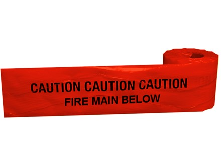 Caution fire main below tape.