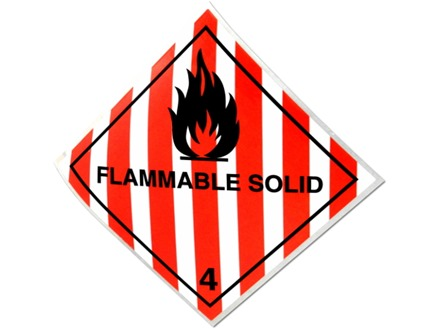Flammable solid 4 hazard warning diamond sign